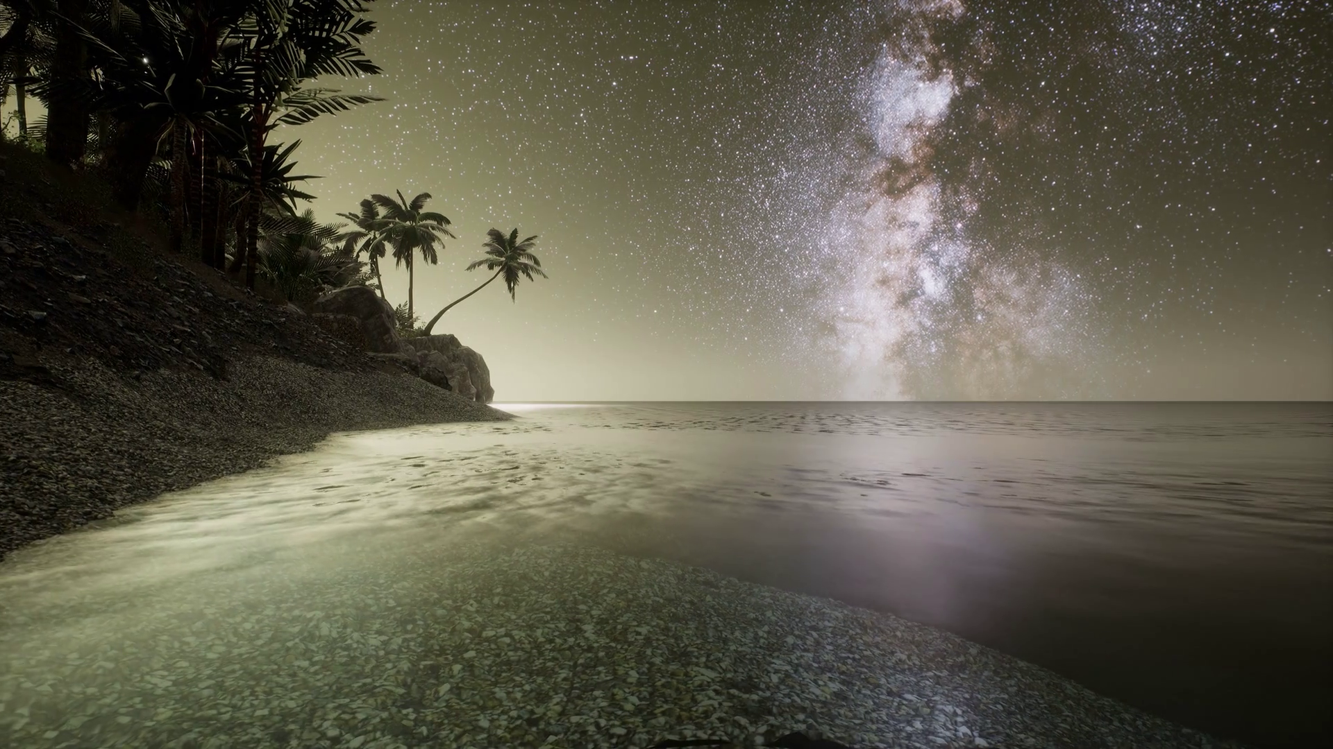 Beautiful fantasy tropical beach with Milky Way star in ...