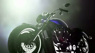 chopper motobike on bokeh background with light