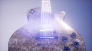 electric guitar on blue background