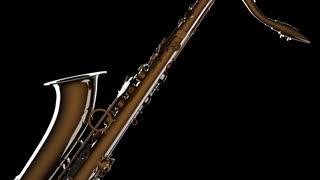 Golden Tenor Saxophone on black background