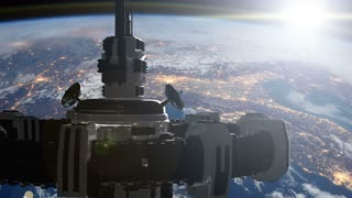 Highly detailed huge spaceship approaching to the Earth. Elements of this image furnished by NASA