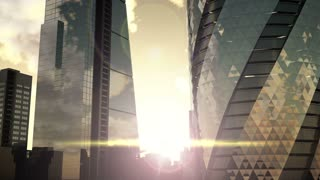 hyperlapse London, sunset. City of London view business and banking arial