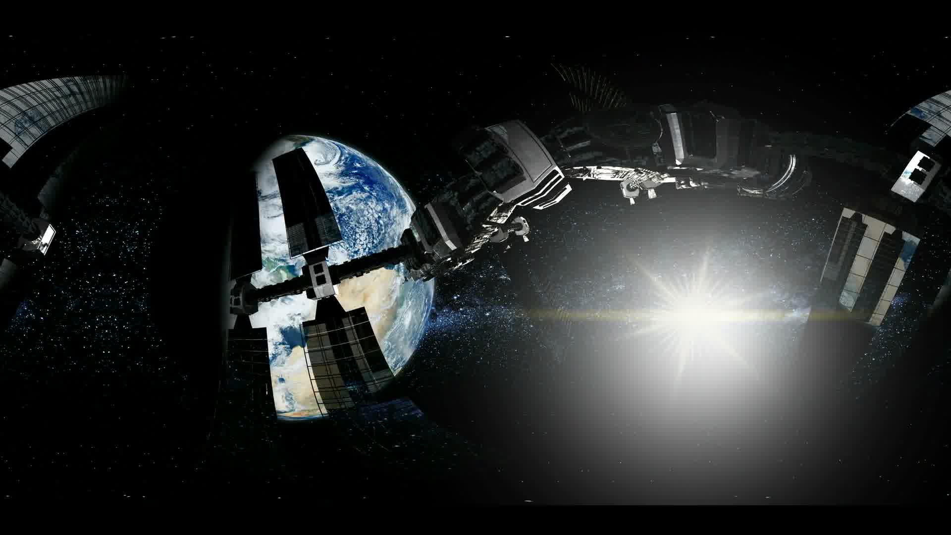 ISS in virtual reality 360 degree video. International Space Station Orbiting Earth. Elements of this image furnished by NASA