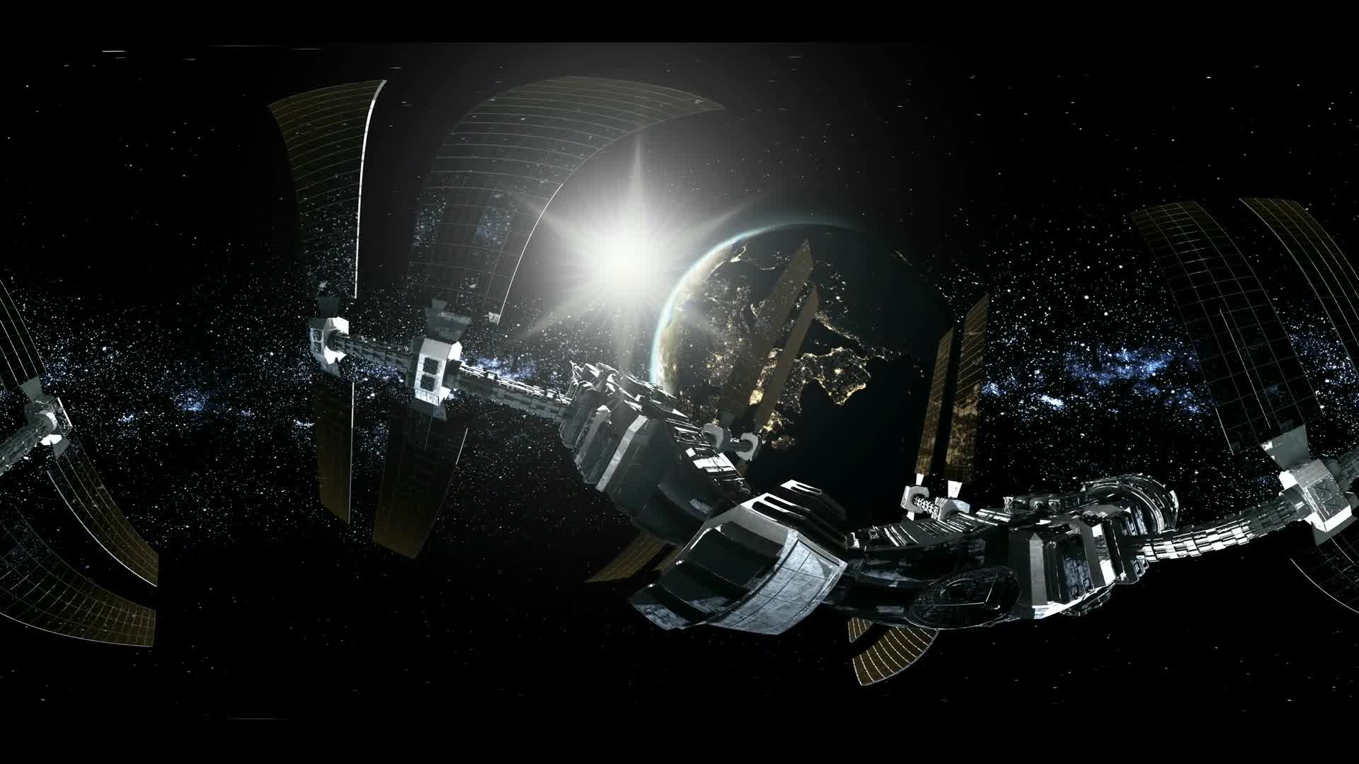 ISS in virtual reality 360 degree video. International Space Station Orbiting