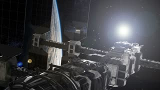 ISS. International Space Station Orbiting Earth. Elements of this image furnished by NASA