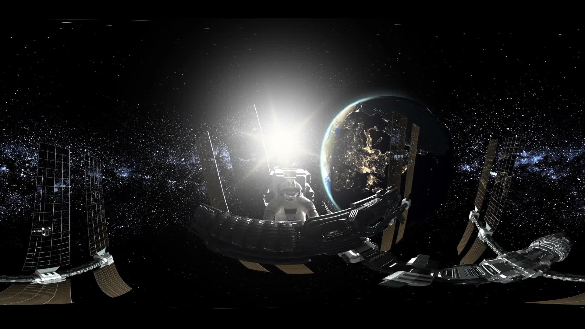 ISS invirtual reality 360 degree video. Astronaut working at International Space Station Orbiting Earth. Elements of this image furnished by NASA