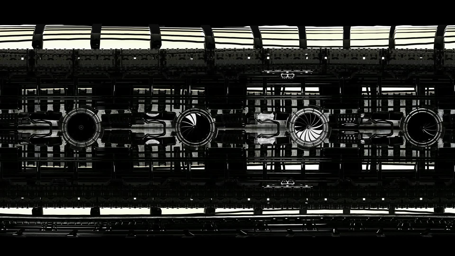 loop vr 360 animation inside metal reactor room background. virtual reality