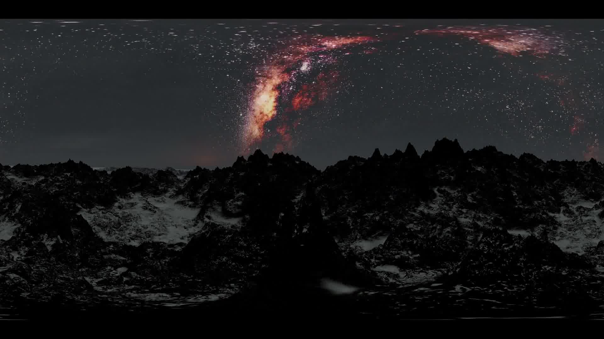 Milky Way stars at sunset in mountains virtual reality 360 degree video