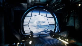 Observing Earth From Space Station Windows Blue Earth and Clouds