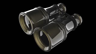Old military binoculars on black background