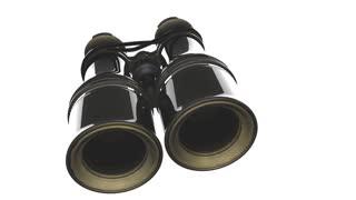 Old military binoculars on white background