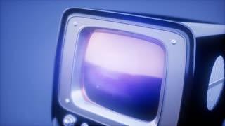 retro tv on blue sky background with light