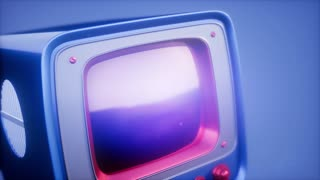 retro tv on blue sky background with light