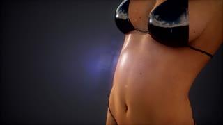 Sexy woman in bikini posed in studio