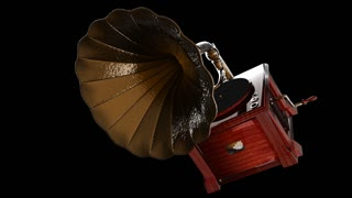 Vintage Gramophone rotate on black background