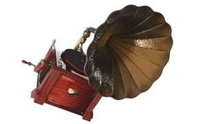 Vintage Gramophone rotate on white background