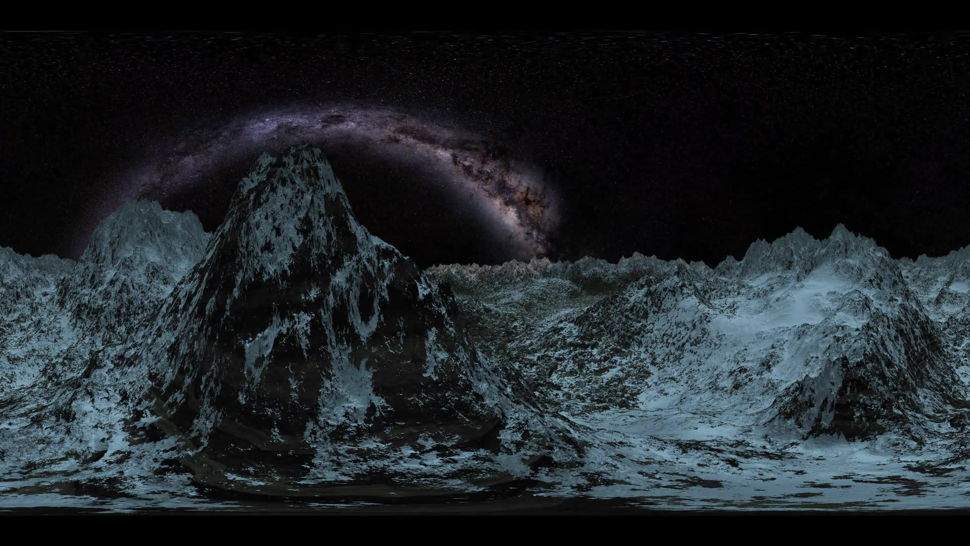 vr 360 6k Milky Way stars at sunset in mountains virtual reality. VR360 degree video