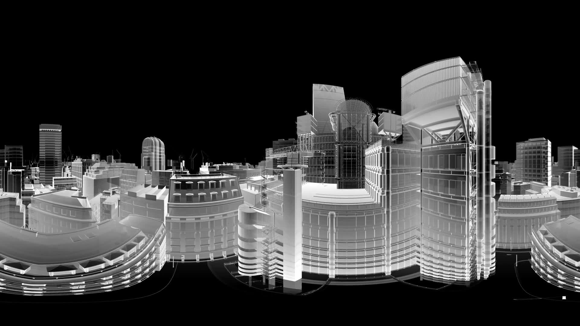 vr 360 abstract animation of a camera moving among wireframe city buildings. virtual reality