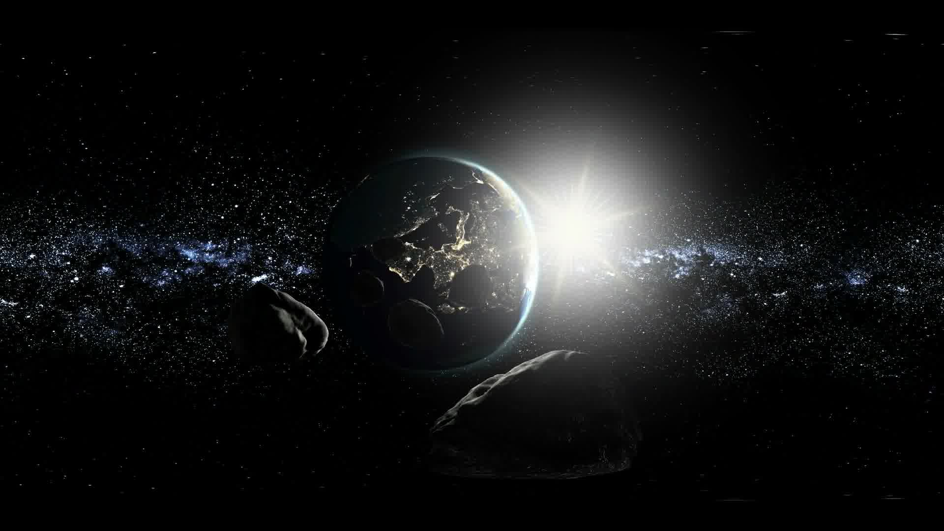 vr 360. asteroid in space fly to earth. virtual reality video. Elements of this image furnished by NASA