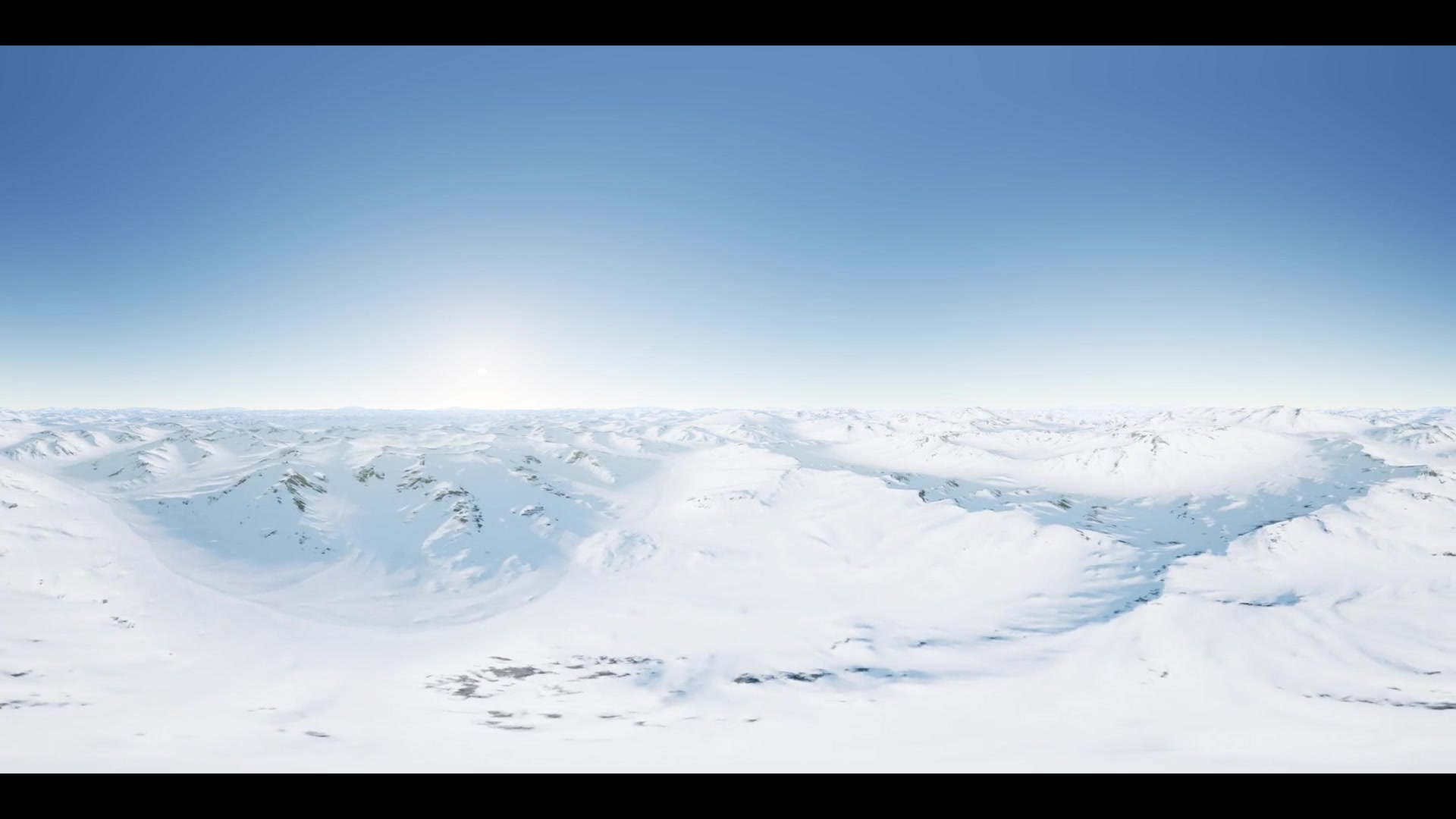 vr 360 camera moving above Polar Snow Rocky Mountains Ridges In a cold polar region. ready for use in vr360 virtual reality
