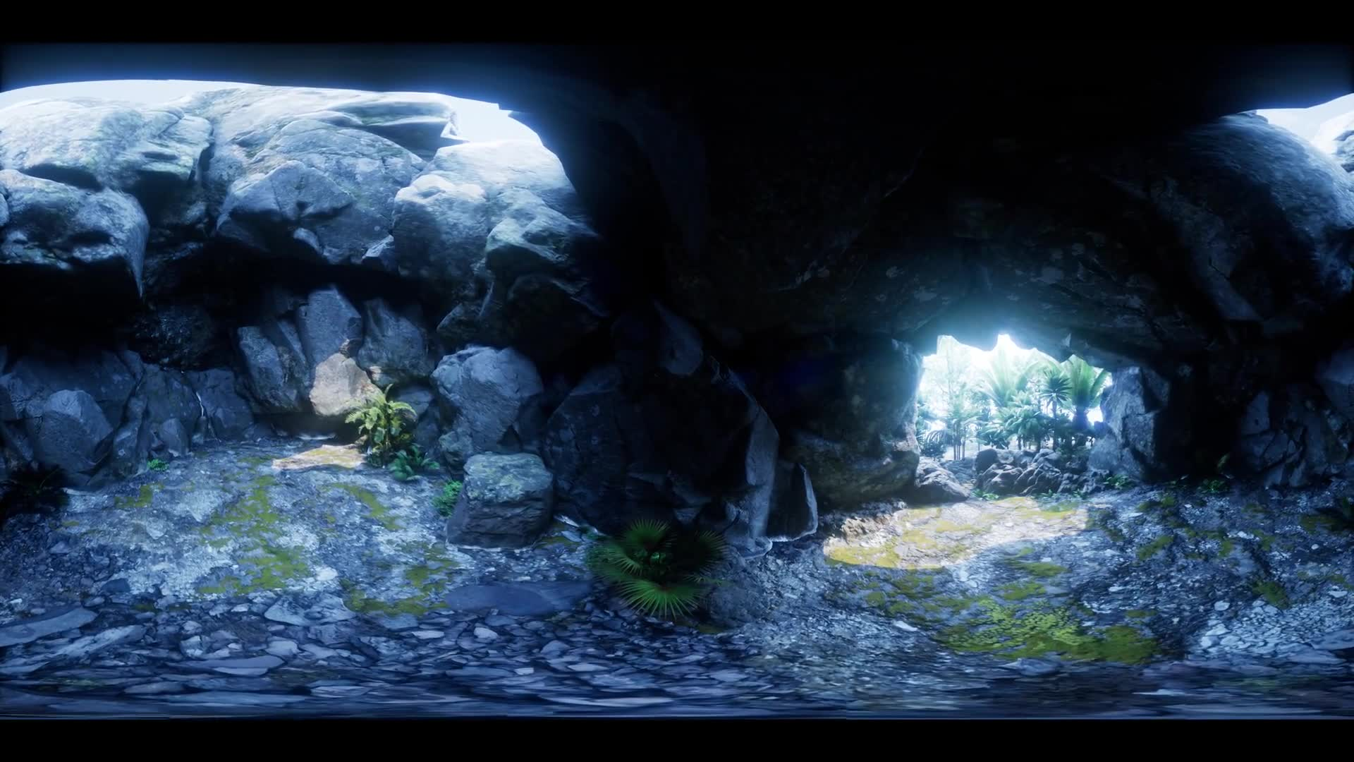 vr 360 camera moving inside tropical cave in jungle with palms and sun light. ready for use in virtual reality