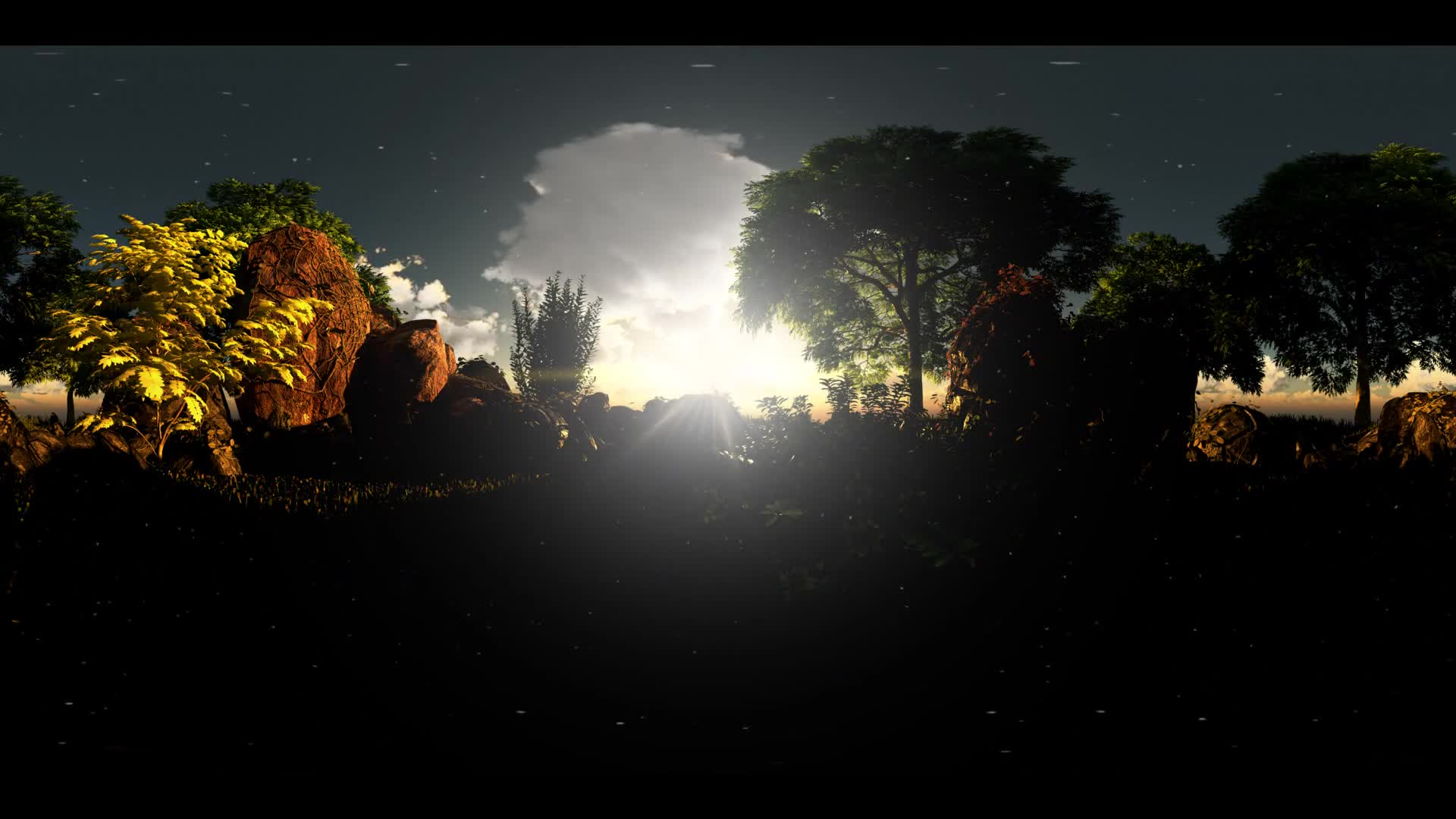 vr 360. timelapse of cloud sunset and oak trees at rocky field in virtual reality 360 degree video