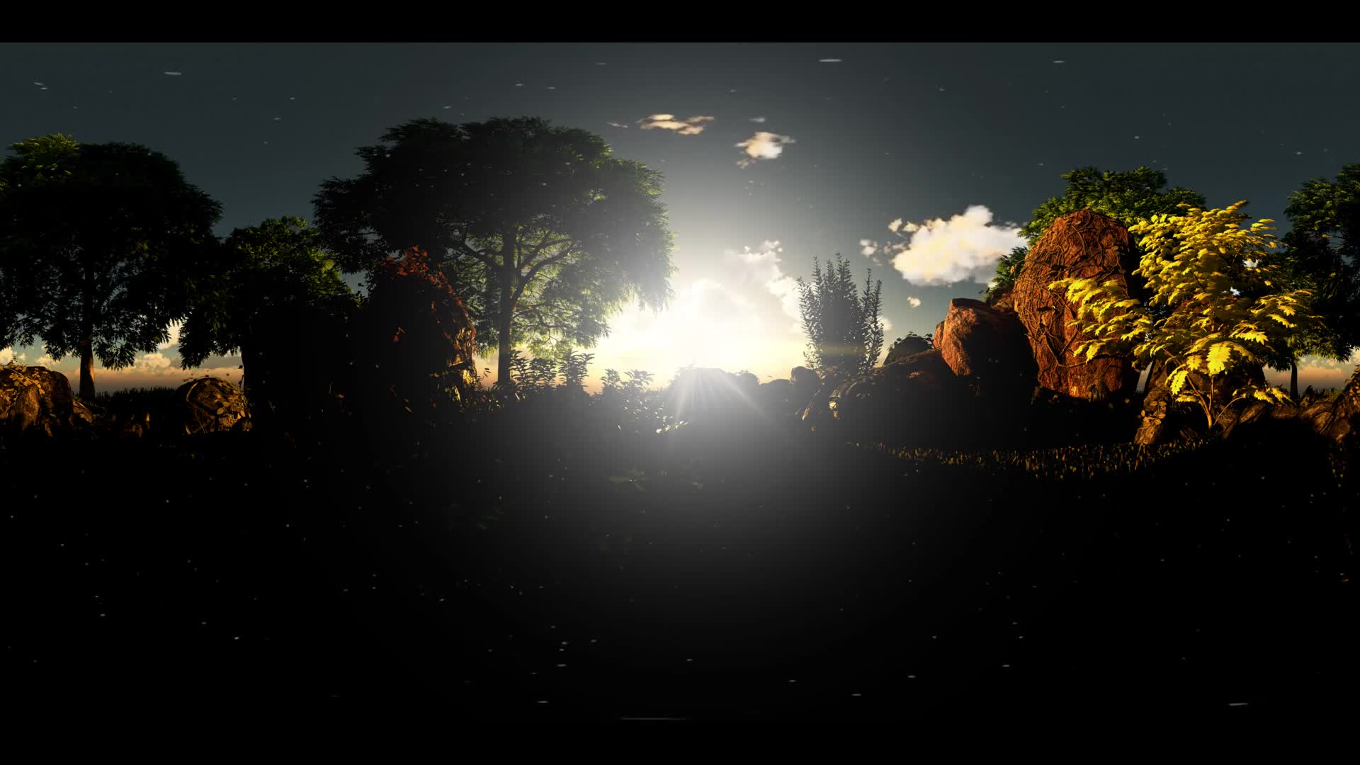 vr 360. timelapse of cloud sunset and pine trees at rocky field in virtual reality 360 degree video