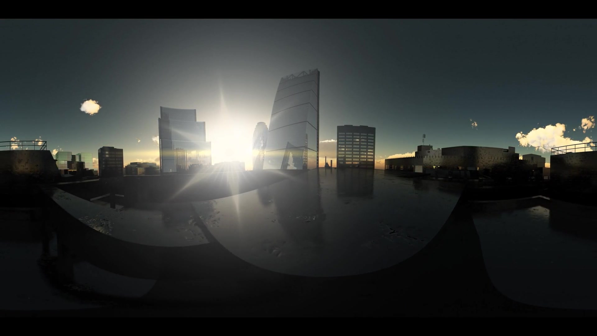 vr 360. timelapse sunset above London city in virtual reality 360 degree video