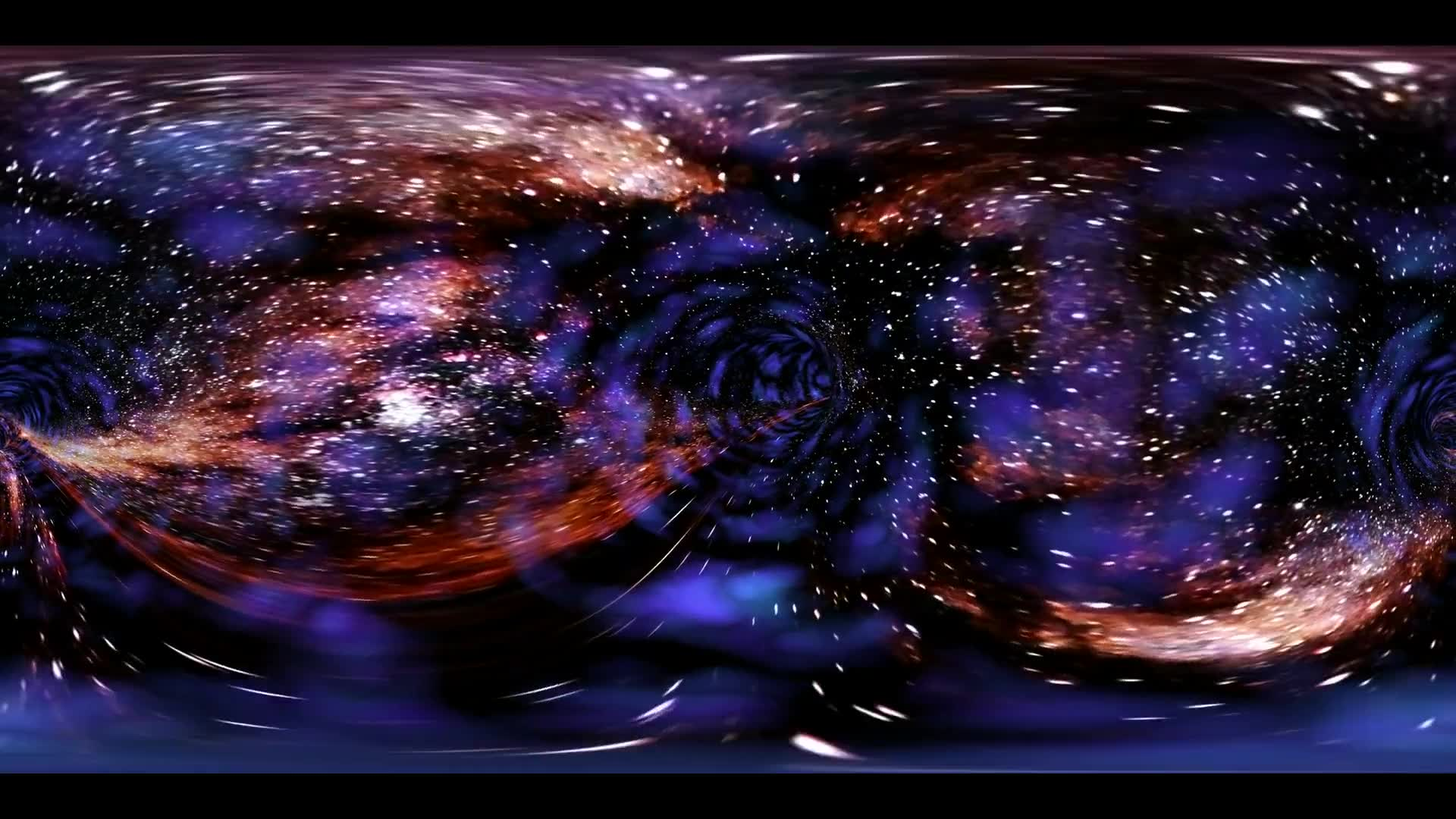 VR 360 Wormhole straight through time and space, clouds, and millions of stars. Warp straight ahead through this science fiction wormhole. virtual reality