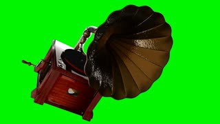 Vintage Gramophone rotate on green chromakey
