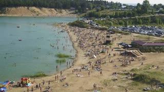 16 july 2016 - Kazan, Russia, city beach on the Emerald lake
