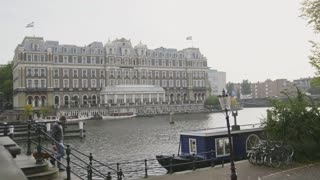 18 OCTOBER 2016, AMSTERDAM, THE NETHERLANDS - Famous Amstel hotel on canal