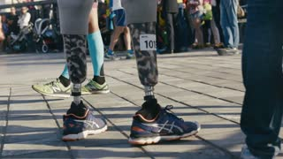 27 august 2016, Russia, Kazan, Disabled athlete with prosthetic leg at triathlon competitions