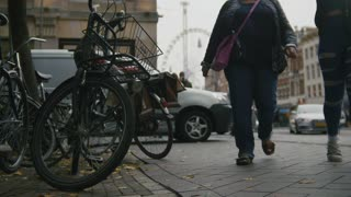 AMSTERDAM, NETHERLANDS - parked the bike in the city centre