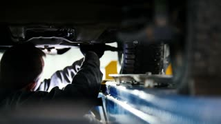 Automobile service - mechanic wrapping working device under car bottom