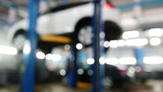 Automobile service - mechanics checking lifted car, de-focused
