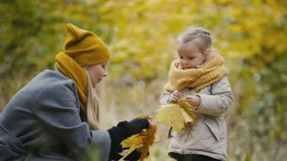 Blonde little daughter with her mommy walks in autumn park - have funny and collect leaves, close up