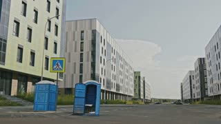 Blue public toilets at empty street of innopolis city,