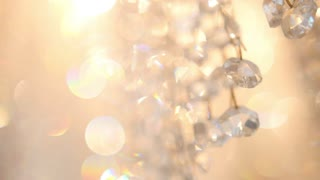 Crystal luxury fashion chandelier with bling shining reflection, macro