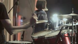 drummer at rock consert slo-mo