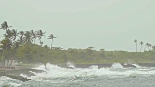 extreme wave crushing coast, caribbean sea, slow-motion