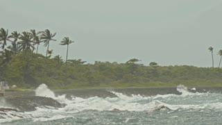 extreme wave crushing coast, caribbean sea
