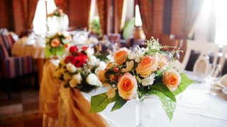 Flower arrangement in a banquet hall