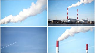 Four in one: ecology Industrial landscape - power plant at sunny day, white vapor from red tube