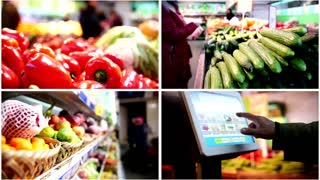 Four in one: grocery concept Electronic scales in the supermarket, customer weighs the vegetable and fruits