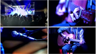 Four in one: Night club concept - Guitarist plays guitar in night club, dancing crowd