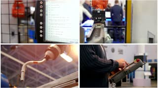 Four in one: robotic industrial concept - automated machine for industrial welding