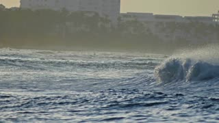 Great waves on caribbean sea in slow-motion telephoto, Dominican Republic