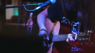 Guitarist at concert - acoustic guitar, microphone, club
