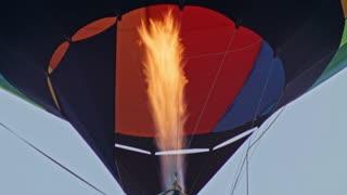 hot air balloon double burner firing in air